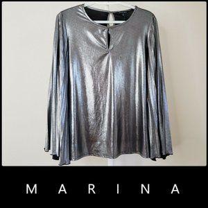 Marina Women's Long Sleeve Metallic Blouse Medium